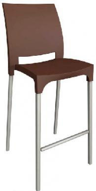 Бар стол с облегалка в кафяво