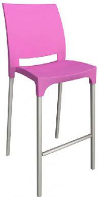 Бар стол с облегалка в розово
