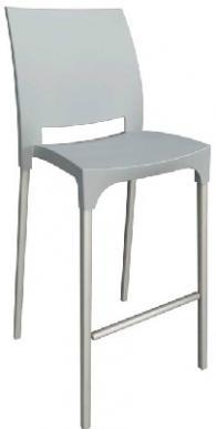 Бар стол с облегалка в сиво
