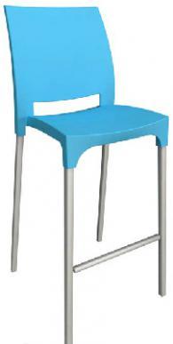 Бар стол с облегалка в синьо
