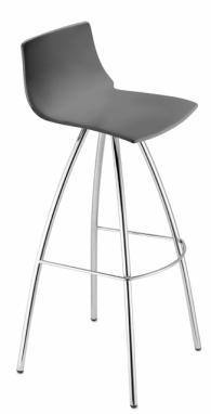 Бар стол с хромирани крака тъмно сив
