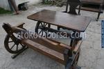 маси с 1 пейка и стол от дърво за механи и кръчми