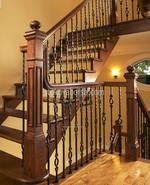 изработка на парапети за стълбища от дърво и ковано желязо